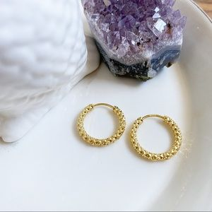 18k Gold Plated Hammered Hoops